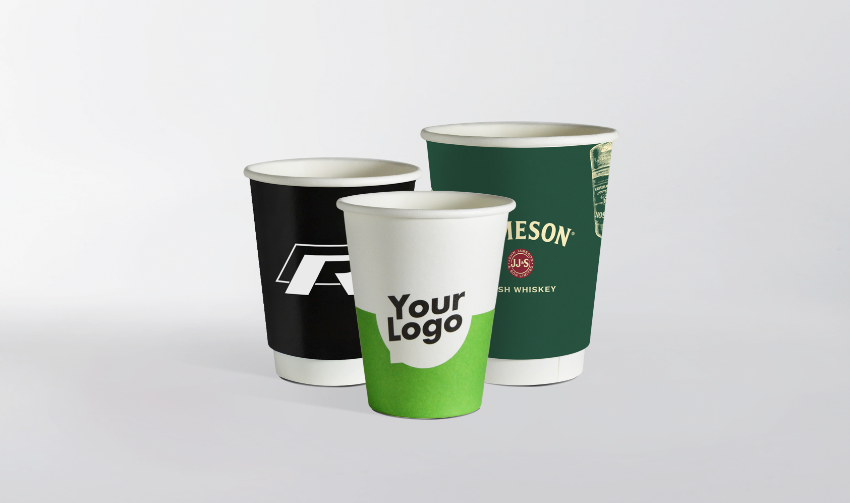 paper cups with print in different sizes